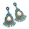 Gold Plated Turquoise Coloured Acrylic Bead Chandelier Earrings - 6.5cm Drop