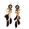 Long Wood, Swallow, Feather, Rose &amp; Heart Drop Earrings - 13cm Length