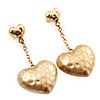 Gold Plated Hammered Double Heart Drop Earrings - 5cm Length