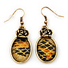 Burn Gold Animal Print Floral Drop Earrings - 4.5cm Length