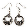 Vintage Hammered Diamante Round Drop Earrings (Burn Silver Metal & Black Crystals) - 4cm Length