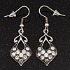 Burn Silver AB Crystal Drop Earrings - 4cm Length