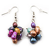 Multicoloured Freshwater Pearl Cluster Drop Earrings (Silver Tone Finish) - 4.5cm Length