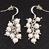 Delicate White Freshwater Pearl Cluster Drop Earrings (Silver Plated) - 3.5cm Drop