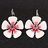 White/Pink Enamel Daisy Drop Earrings (Silver Plated Metal) - 3cm Length