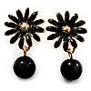 Small Black Enamel Flower Stud Earrings (Gold Plated Finish) - 2.5cm Length