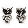 Small Antique Silver Diamante Owl Stud Earrings - 2cm Length