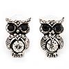 Small Antique Silver Diamante Owl Stud Earrings - 2cm Length