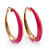 Fuchsia Hoop Earrings (Gold Tone Metal) - 5cm Diameter