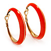 Bright Orange Hoop Earrings (Gold Tone Metal) - 5cm Diameter