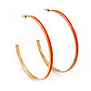 Orange Enamel Thin Hoop Earrings (Gold Plated Metal) - 6cm Diameter