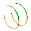Grass Green Enamel Thin Hoop Earrings (Gold Plated Metal) - 6cm Diameter