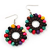 Multicoloured Wood Bead Hoop Drop Earrings (Silver Tone Metal) - 5.5cm Drop