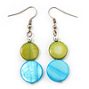 Round Double Shell Drop Earrings (lime green/aqua blue) - 5cm Length