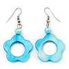 Light Blue Open Flower Shell Drop Earrings (Silver Metal Finish) - 5.5cm Drop