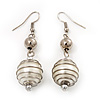 Silver Tone White Faux Pearl Drop Earrings - 5.5cm Drop