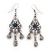 Vintage Hammered Blue Crystal Drop Earrings (Burn Silver Finish) - 6cm Length