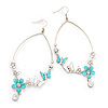 Long Oval Hoop Enamel Butterfly Earrings (Rhodium Plated Finish) - 10cm Length