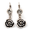 Burn Silver Rose Drop Earrings - 4.5cm Length