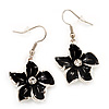 Black Enamel Daisy Drop Earrings (Silver Tone Metal) - 4cm Length