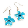 Light Blue Enamel Daisy Drop Earrings (Silver Tone Metal) - 4cm Length
