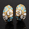 C-Shape Light Blue/White Floral Enamel Crystal Clip On Earrings In Gold Plated Metal - 2cm Length