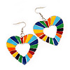 Heart Multicoloured Enamel Hoop Drop Earrings (Silver Tone Metal) - 6.5cm Length