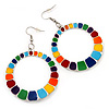 Round Multicoloured Enamel Hoop Drop Earrings (Silver Tone Metal) - 5cm Diameter