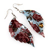 Floral Acrylic 'Leaf' Drop Earrings (Pale Blue, Red & Olive Green) - 8cm Drop