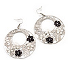 Silver Tone Black/White Flower Hoop Drop Earrings - 7cm Length