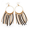Boho Long Chain & Leather Dangle Hoop Earrings (Gold Plated Finish) - 13cm Length
