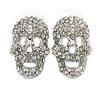 Small Dazzling Crystal Skull Stud Earrings In Silver Plating - 2cm Length