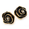 Black Enamel Dimensional Rose Stud Earrings In Gold Metal - 2cm in diameter