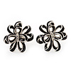 Black Enamel Dimensional Floral Stud Earrings In Silver Plated Metal - 2.5cm in diameter