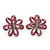 Pink Enamel Dimensional Floral Stud Earrings In Silver Plated Metal - 2.5cm in diameter