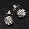 Clear Crystal Ball Stud Earrings In Rhodium Plated Metal - 10mm diameter