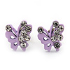 Tiny Lavender Crystal Enamel 'Butterfly' Stud Earrings In Silver Tone Metal - 10mm Diameter