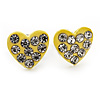 Tiny Yellow Crystal Enamel 'Heart' Stud Earrings In Silver Plated Metal - 10mm Diameter