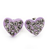 Tiny Lavender Crystal Enamel 'Heart' Stud Earrings In Silver Plated Metal - 10mm Diameter