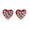 Tiny Red Crystal Enamel &#039;Heart&#039; Stud Earrings In Silver Plated Metal - 10mm Diameter