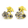 Tiny Yellow Enamel Diamante Sweet 'Cherry' Stud Earrings In Silver Tone Metal - 10mm Diameter