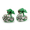 Tiny Green Enamel Diamante Sweet 'Cherry' Stud Earrings In Silver Tone Metal - 10mm Diameter
