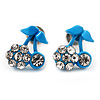 Tiny Blue Enamel Diamante Sweet 'Cherry' Stud Earrings In Silver Tone Metal - 10mm Diameter