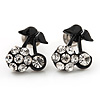 Tiny Black Enamel Diamante Sweet 'Cherry' Stud Earrings In Silver Tone Metal - 10mm Diameter