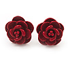 Tiny Red 'Rose' Stud Earrings In Silver Tone Metal - 10mm Diameter