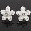 White Enamel Daisy Floral Stud Earrings In Rhodium Plated Metal - 2cm Diameter