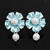 Light Blue Faux Pearl Floral Stud Earrings In Silver Tone Metal - 2.5cm Drop