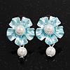 Light Blue Faux Pearl Floral Stud Earrings In Silver Tone Metal - 2.5cm Drop