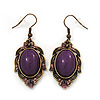 Vintage Purple Diamante Drop Earrings In Bronze Tone Metal - 5cm Length