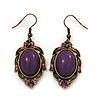 Vintage Purple Diamante Drop Earrings In Bronze Tone Metal - 5cm Length